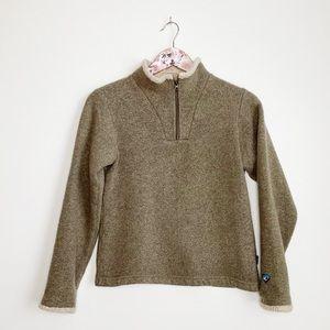 KUHL Alpaca Fleece Pullover Sweater 1/2 Zip Tan XS